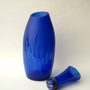 Blue upcycled bottle vase