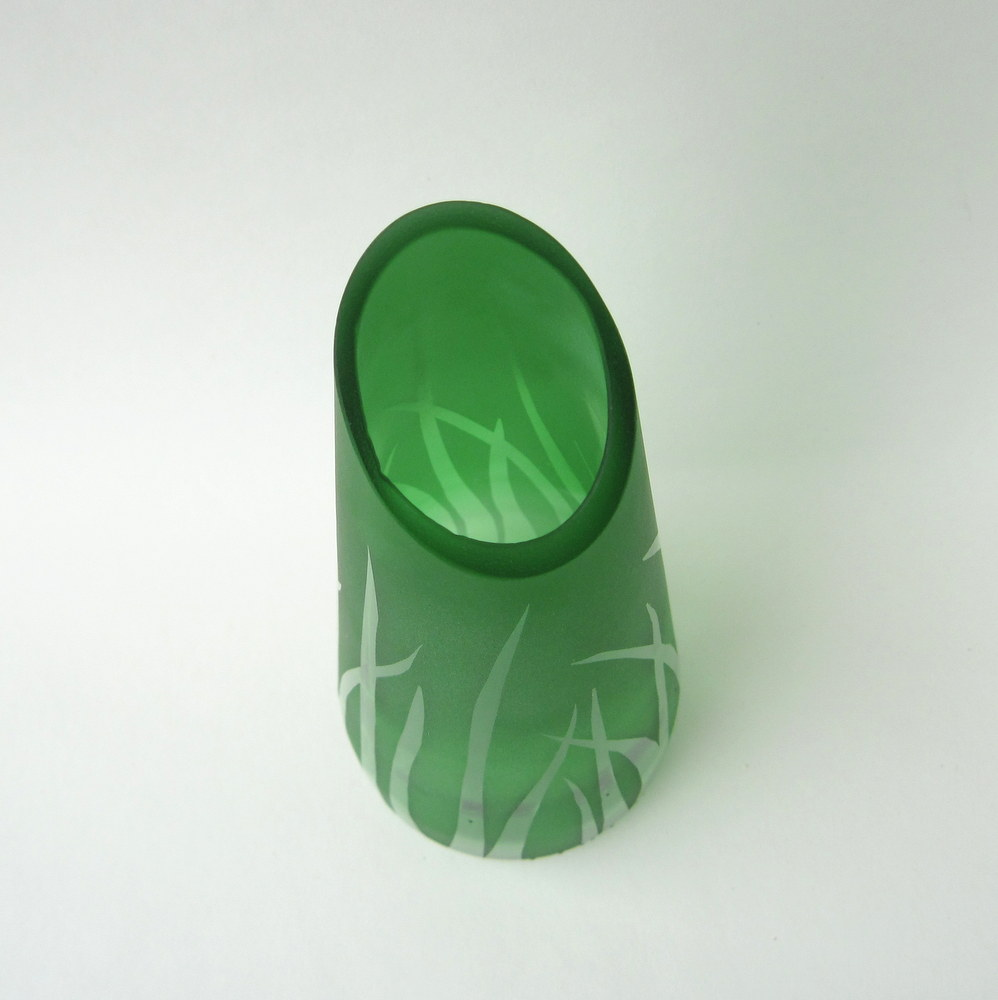 Green recycled bottle vase
