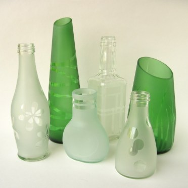 Recycled bottle vases